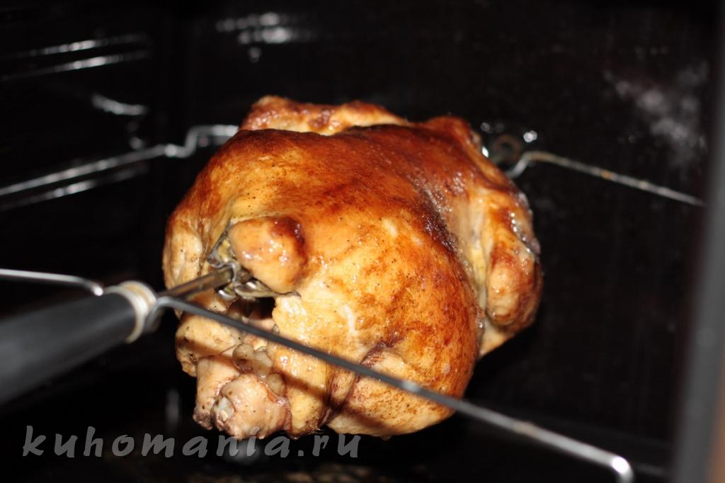 Курица гриль в духовке на вертеле в домашних условиях
