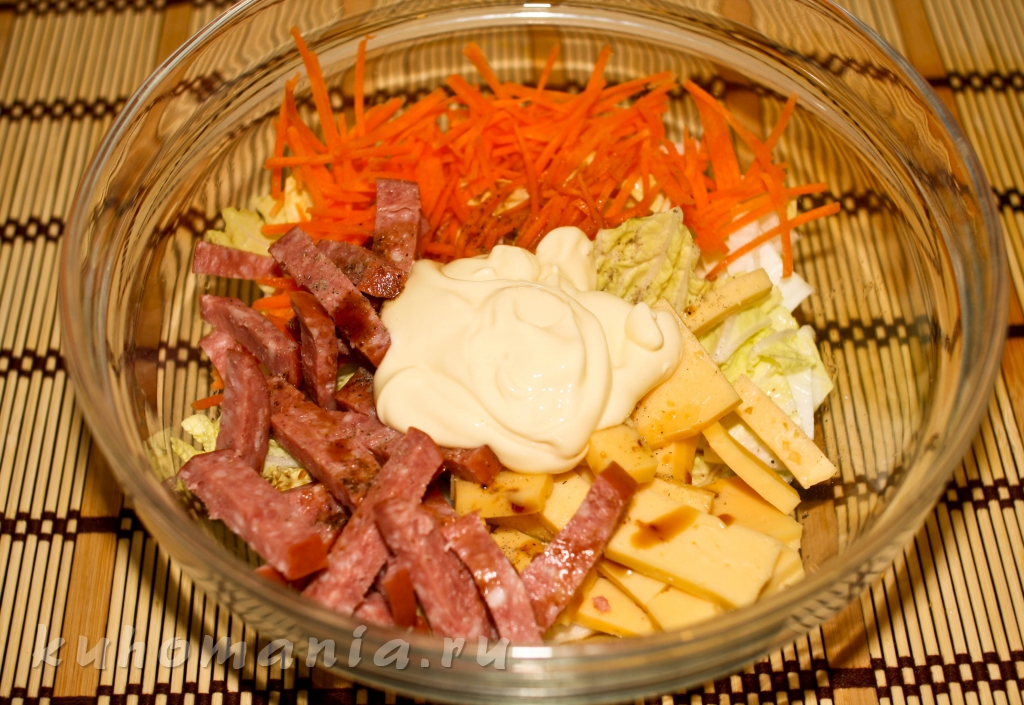 Пекинская капуста с копченой колбасой рецепт