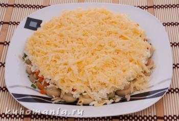 слой потертого сыра - фотография пошагового приготовления блюда Салат