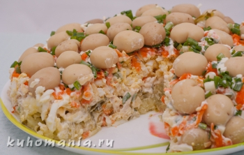 салат грибы на поляне в разрезе - фотография пошагового приготовления блюда Салат