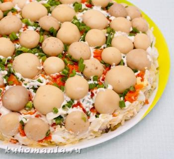 готовый салат грибы на поляне - фотография пошагового приготовления блюда Салат