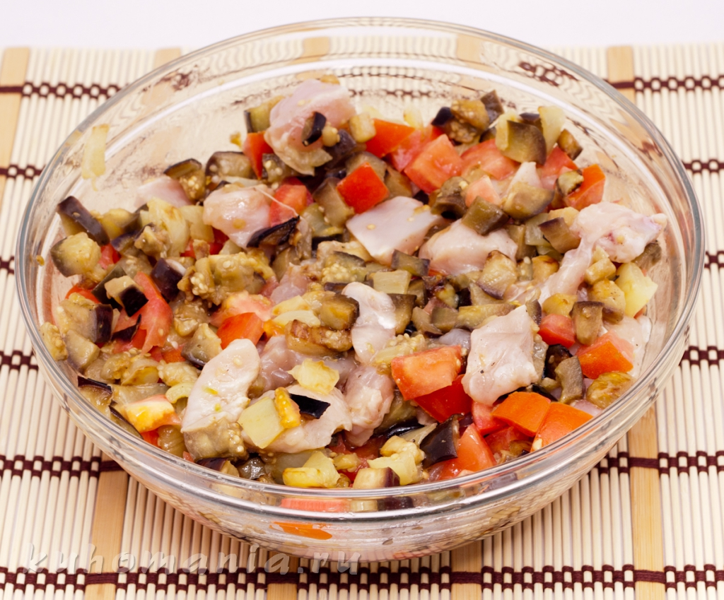 запеканка с баклажанами и курицей в духовке рецепт с фото