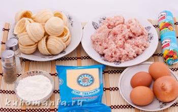 фарш, сыр, яйца, корзинки - фотография пошагового приготовления блюда Корзинки с мясным фаршем под сыром